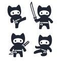Cute cartoon ninja cat set