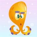 Cute cartoon octopus character. Vector Halloween yellow octopus surprised. on underwater background.