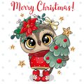 Cute Cartoon Owl with Christmas tree on a white background Royalty Free Stock Photo