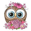 Cartoon Owl with flowerson a white background