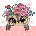 Cartoon Owl With Flowerson A W...