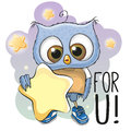 Cute cartoon owl girl with star on the stars background Royalty Free Stock Image