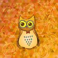 Cute cartoon owl on halloween background little orange triangles with doodles Stock Photo