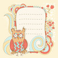 Cute cartoon owl invitation fcard stylish floral colorful sticker card Stock Images