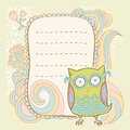 Cute cartoon owl invitation fcard stylish floral colorful sticker card Stock Photography
