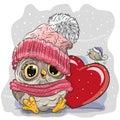 Cute Cartoon owl in a knitted cap