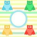 Cute cartoon owl set on colorful background Stock Photos