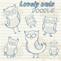 Cute cartoon owl stylish sticker doodle set collection on notepaper background Royalty Free Stock Image