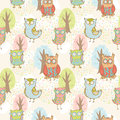 Cute cartoon owls fantasy coloful pattern with trees Royalty Free Stock Image