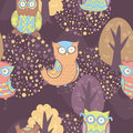 Cute cartoon owls fantasy coloful pattern with trees Royalty Free Stock Images