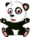 Cute cartoon panda posing illustration of Stock Photography
