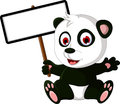 Cute cartoon panda posing with white board illustration of Stock Image
