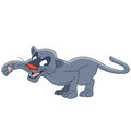 Cute cartoon panther and lovely prowling to catch something to eat isolated on a white background Royalty Free Stock Photos