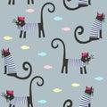 Cute cartoon parisian cats and fish vector background.