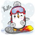 Cute cartoon Penguin on a snowboard