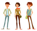 Cute cartoon people in hipster fashion illustration of young stylish clothes Royalty Free Stock Photography