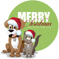 Cute cartoon pets santa hats greeting card eps vector stock illustration Stock Image