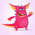 Cute cartoon pink dragon troll or goblin. Vector illustration Royalty Free Stock Photo