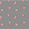 Cute cartoon pink lips on black and white stripes seamless pattern background illustration