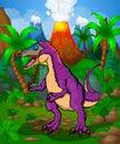 Cute cartoon Pinocchio Rex. Vector illustration of a cartoon dinosaur. Royalty Free Stock Photo