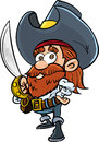 Cute cartoon pirate with a cutlass isolated on white Royalty Free Stock Photos