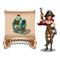 Cute cartoon pirate girl with treasure chest on the old scroll.