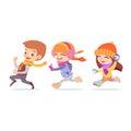 Cute Cartoon Playing Kids Runn...