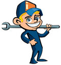 Cute Cartoon plumber holding a tool Royalty Free Stock Images