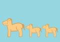 Cute Cartoon Ponies Vector Illustration