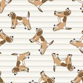 Cute cartoon puppy dog seamless vector pattern. Hand drawn pedigree kennel doggie breed for dog lovers. Purebred Royalty Free Stock Photo