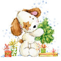Cute cartoon puppy watercolor illustration. Dog year greeting card.
