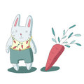 Cute cartoon rabbit character and carrots, vector isolated illustration in simple style.