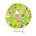 Cute cartoon rabbit girl and Set of garden objects. Plants, pots and tools for gardening.