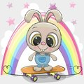 Cute Cartoon Rabbit with skateboard