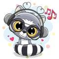 Cute Cartoon Raccoon with headphones
