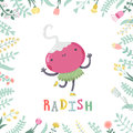 Cute cartoon radish illustration with flowers and lettering.