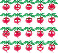 Cute cartoon radish smile with many express Stock Photos