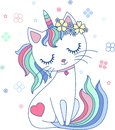 Cute, cartoon, rainbow cat unicorn. Vector