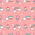 Cute cartoon rainbow, comet, ice cream, stars and lollipop seamless pattern on pink background