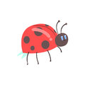 Cute cartoon red ladybug character vector Illustration