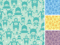 Cute cartoon robots seamless pattern background vector with hand drawn elements Stock Photography