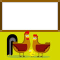 Cute cartoon rooster hen and chick with white vector space for text Royalty Free Stock Photo