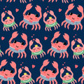 Cute cartoon sailor crab and crab girl seamless pattern on dark blue background. Royalty Free Stock Photo