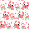 Cute cartoon sailor and crab girl seamless pattern Royalty Free Stock Photo