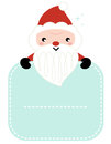Cute cartoon santa holding blank christmas banner with copy space vector illustration Stock Photos