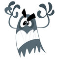 Cute cartoon scary ghost making a frightening attacking gesture Stock Image