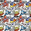 Cute cartoon sea fish seamless pattern. vintage surf background. Royalty Free Stock Photo