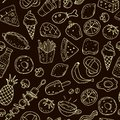 Cute cartoon seamless pattern with food on a neutral background