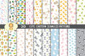 Cute cartoon seamless patterns, pattern swatches included