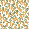 Simple cartoon repeating seamless vector cute pattern with color healthy carrot. hand drawing